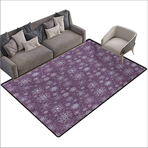 Custom Door Rugs for Home Rugs Snowflake Christmas Themed Floral Arrangement Ornamental Swirls and Curves Winter Non-Slip Door mat pad Machine can be Washed W78 xL94 Levander Violet]()