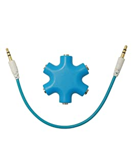 Busirde MixColors 3.5mm Schneeflockeform 5-Wege-Stereo-Audio-Splitter Jack Kopfhörer-Kopfhörer-Adapter Blau
