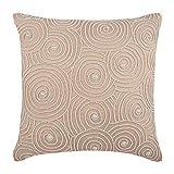 "Designer Beige Shams, Mother Of Pearls Spiral Optic Pattern Pillow Shams, 24""x24"" Pillow Shams, Square Cotton Linen Shams, Contemporary Pillow Shams - Spiral Revolution"