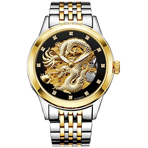 - Golden/Silver Stainless Steel Dragon Automatic Mechanical Wristwatches, Waterproof Mechanical Watch for Birthday Mens Watch with Box (Silver-Black)
