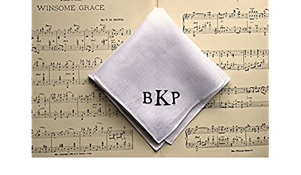 4102a83f869 Amazon.com  White Irish Linen Handkerchief with Hand Embroidered Monogram  Initials  Handmade