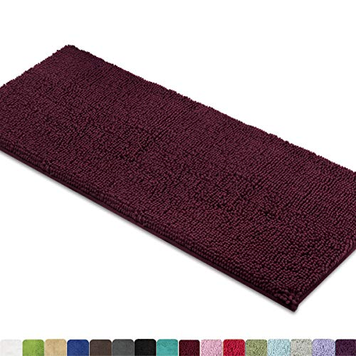 MAYSHINE Bath Mat Runners for Bathroom Rugs, Long Floor Mats, Extra Soft, Absorbent, Thickening Shaggy Microfiber, Machine-Washable, Perfect for Doormats,Tub, Shower (27.5x47 Inches, Burgundy)