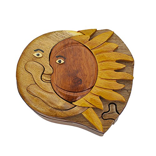 Handmade Wooden Art Intarsia TRICK SECRET Moon and Sun Puzzle Trinket Box (3419) (g2)