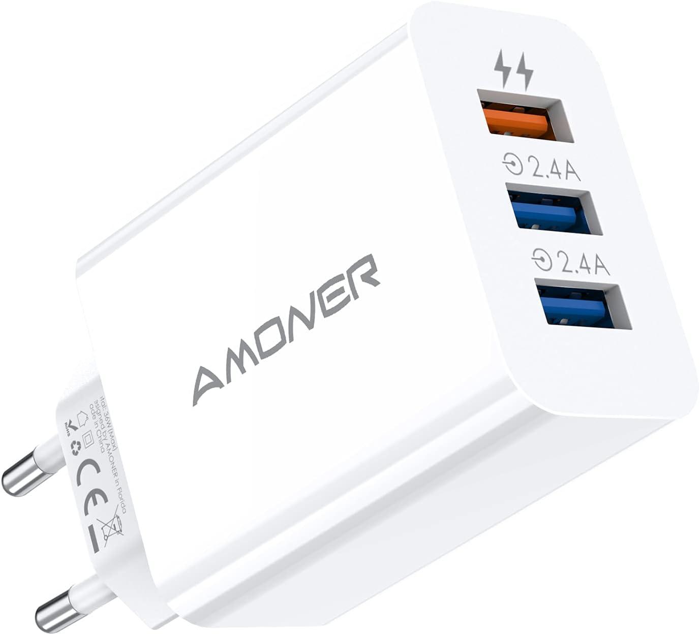Amoner Cargador USB de Pared con 3 Puertos Cargador USB 33W Una Corriente Máxima de 2,4A Cargador Móvil para Todos Los Tipos de Celular 1 Packs