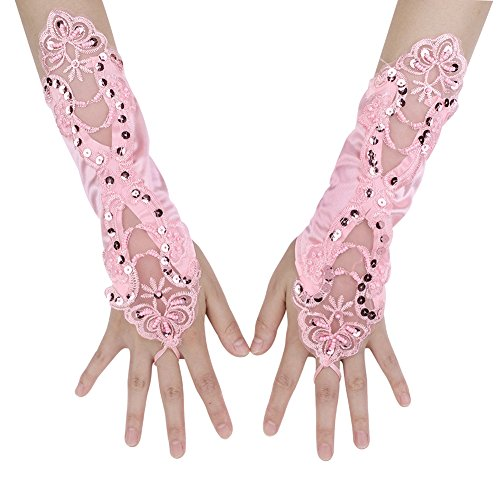 - Women's Bridal Lace Gloves Long Fingerless Satin Wedding Gloves Banquet Pageant Party Gloves Special Occassion Accessory