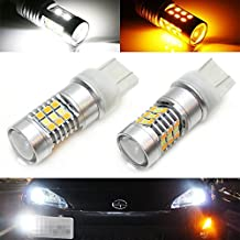iJDMTOY (2) High Power White/Amber 7443 7444 Switchback LED Bulbs For Front Turn Signal Lights, Powered By SAMSUNG SMD LED