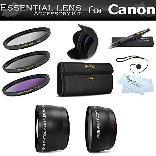 Wide Angle Lens Kit - Deluxe All In Lens Kit For CANON VIXIA HF R82, HF R80, HF R800, HF R700, HF R72, HF R70 Camcorder Includes HD .43x Wide Angle Lens + 2.2x Telephoto Lens + 3 Piece Filter Kit (UV, CPL, FLD) + Much More
