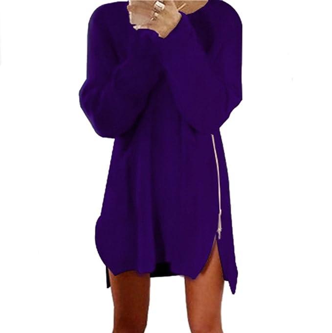 ZORE Las Mujeres de otoño de Invierno de Lado Cremallera Chaquetas de Punto suéter Holgado Jersey