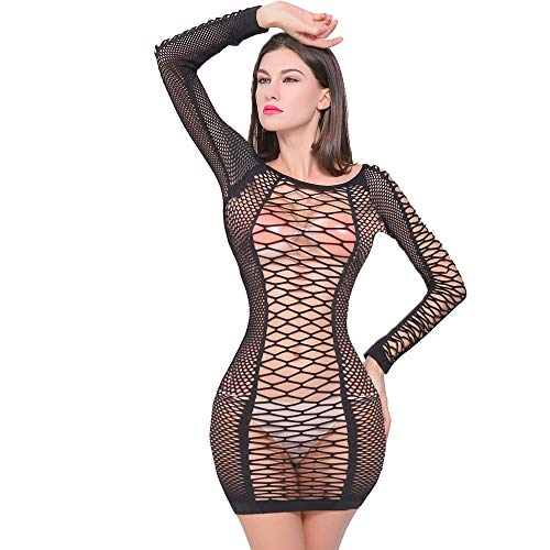QueensHot Sexy Fishnet Long Sleeve Lingerie Babydoll Teddy BodySuit Stocking Leotard Mini Dress ()