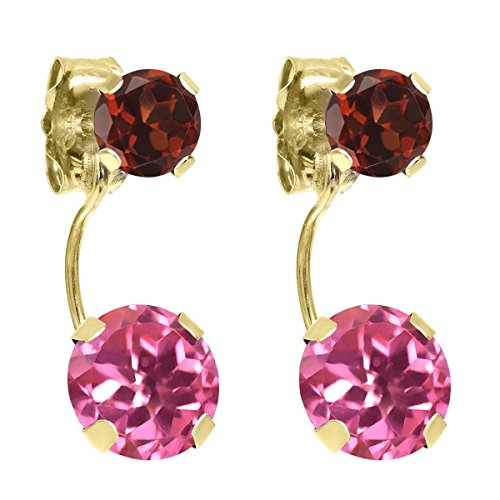 Pink Garnet Topaz & Earrings (2.74 Ct Round Pink Mystic Topaz Red Garnet 14K Yellow Gold Earrings)