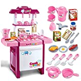 BUNITA, Musical Kitchen Toy Set Kids Simulation Kitchen Toys Baby Kitchen Toys Set With Light & Sound Pink Red Baby Pretend Play Gifts,toy kitchen set pink