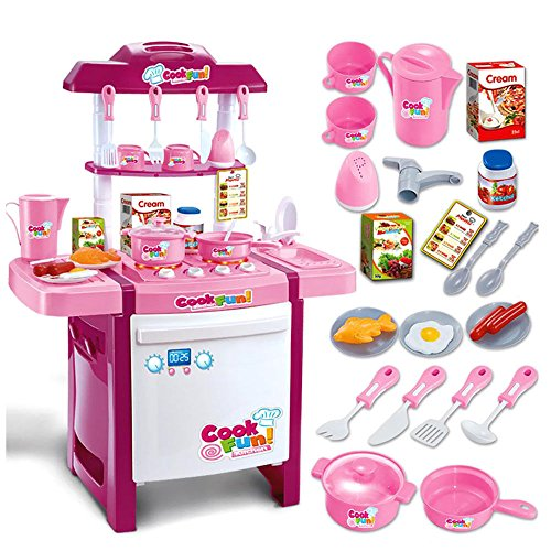 BUNITA, Musical Kitchen Toy Set Kids Simulation Kitchen Toys Baby Kitchen Toys Set With Light & Sound Pink Red Baby Pretend Play Gifts,toy kitchen set pink by BUNITA