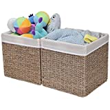 StorageWorks Rectangular Wicker Storage Baskets, Seagrass Basket with Lining, Large Baskets for Cube Storage, 11.8