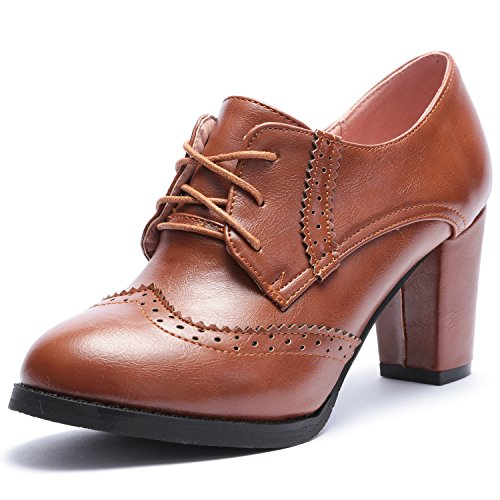 De Chaussures Odema Bottines Yellow Talon Oxford Haut Tête Ronde Femmes Sangle Pk0w8nO