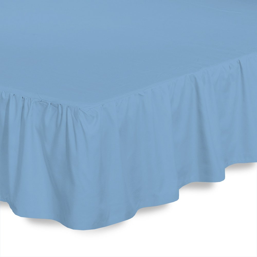 ARlinen Ruffled/Gathering Solid Bed Skirt Soft Brushed Microfiber Bed Wrap with Platform- Easy Fit Gathered Style 3 Sided Coverage Short Queen Size,Light Blue, for Natural Draping 12 Inch by