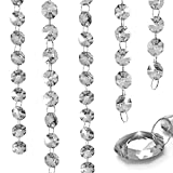 glass and crystal beads - XGpie 16.4Ft Clear Crystal Glass Beads Lamp Chain Chandelier Decoration for Wedding Home and DIY Craft Jewelry Making