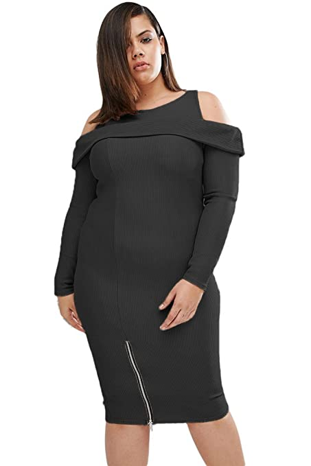 New Ladies Plus Size Black Ribbed Midi Dress Casual Evening Party Cocktail Cruise Dress Plus Size