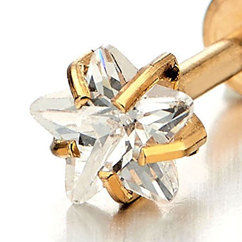 Women Mens Steel Gold Lip Stud Ring 5MM Star CZ Piercing Labret Monroe Bar Chin Tragus Body Jewelry