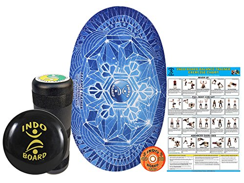 "INDO BOARD Original Training Package Balance Board– Includes 30"" X 18"" Deck, 6.5"" Roller and 14"" IndoFLO Cushion - Snowflake Design"
