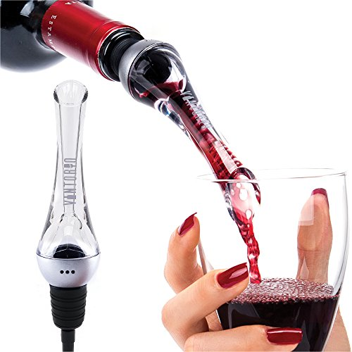 Vintorio Wine Aerator Pourer - Premium Aerating Pourer and Decanter Spout (Sliver) - Air Bubble Wine Glass
