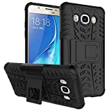 Kaira Hard Armor Hybrid Rubber Bumper Flip Stand Rugged Back Case Cover for Samsung Galaxy J5 (2016) (Black)
