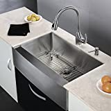KES 33 Inch Farmhouse Sink Farm Sink for Kitchen Apron Front Kitchen Sink 16 Guage SUS 304 Stainless Steel Single Bowl Extra Deep with Drain Stainer Basket and Bottom Grid Protector, UC8451-C1