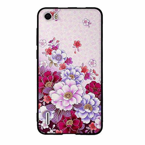 Funda Huawei Honor 6, FUBAODA [Flor rosa] caja del teléfono elegancia contemporánea que la manera 3D de diseño creativo de cuerpo completo protector Diseño Mate TPU cubierta del caucho de silicona sua pic: 04