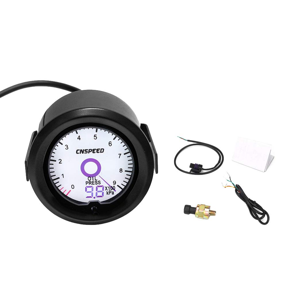 AUWU 2'' 52mm 7 Colors LCD Screen Display 12V Car Oil Pressure Gauge Meter 0-900 Kpa Car Accessories by AUWU
