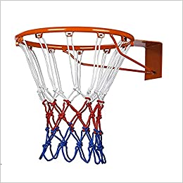 Ndier Canasta de baloncesto, anillo de red de nailon para baloncesto rojo, blanco y azul, 2 unidades