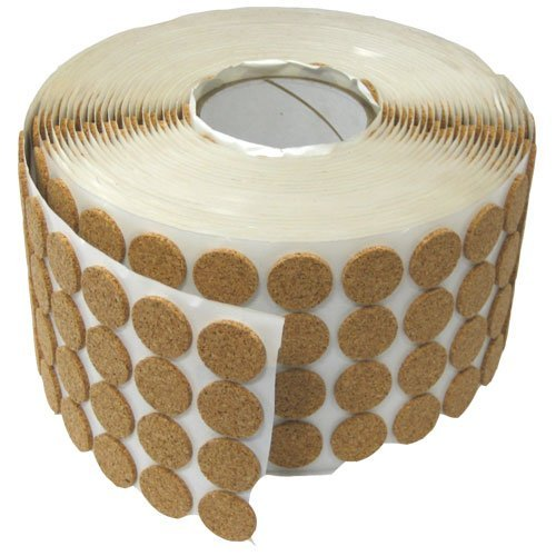 ADHESIVE KISS CUT CORK BUTTON ROLLS - 1/8'' THICK, 1'' DIA, 2120 PIECES