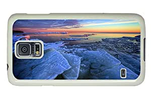 Diy Samsung i9600 pretty case Winter sea ice morning sunrise blue PC White for Samsung S5,Samsung Galaxy S5,Samsung i9600