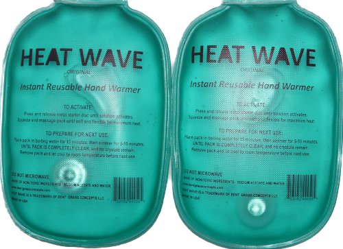 HEAT WAVE Instant Reusable Hand Warmers - 1 pair - Premium Quality - Medical Grade - MADE IN USA! (not China)