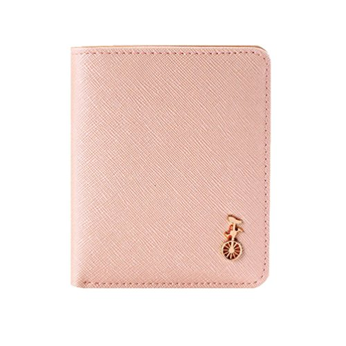 Damara Womens Short Portable Snap Faux Leather Bifold Wallet,Light Pink