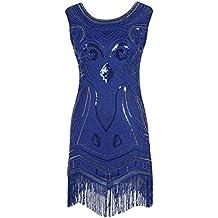 Emust Women's 1920s Gatsby Art Deco Sequined Embellishment Fringed Flapper Dress