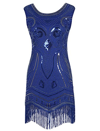 [Emust Women's 1920s Gatsby Art Deco Sequined Embellishment Fringed Flapper Dress RoyalBlue Size] (Gatsby Dress Cheap)