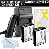 2 Pack Battery And Charger Kit For Canon EOS Rebel T6, Canon EOS Rebel T5, Canon EOS Rebel T3 Digital SLR Camera Includes 2 Extended (1500mAh) Replacement LP-E10 Batteries + Ac/Dc Rapid Charger + More