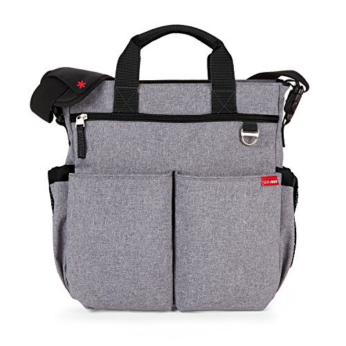 Skip Hop Duo Signature Carry All Travel Diaper Bag Tote with Multipockets, One Size, Heather Grey Baby Sac Diaper Bag