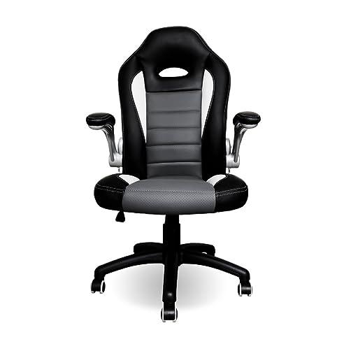 Bürostuhl weiß grau  HG® Bürodrehstuhl Bürosessel schwarz-grau-weiß Bürostuhl Sportsitz ...