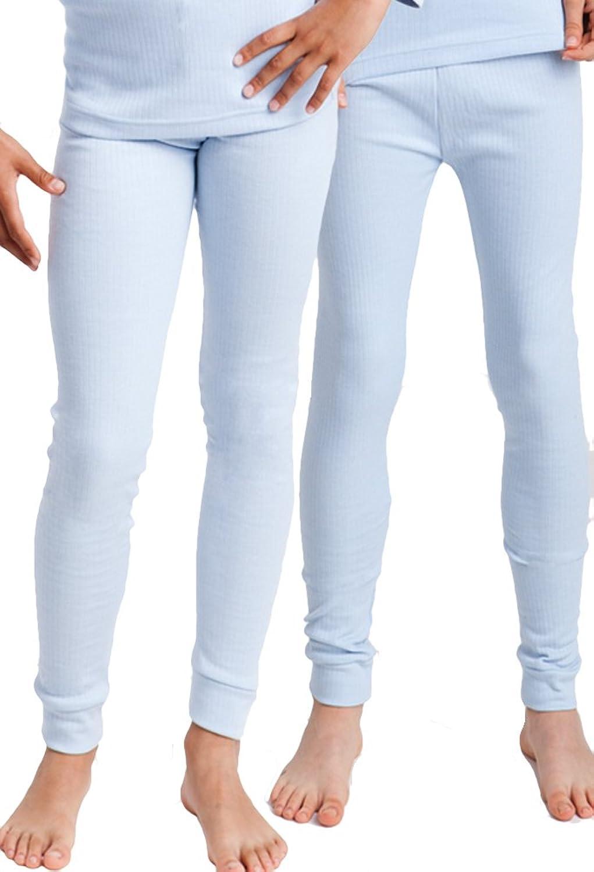 2 Stück Kinder Thermo Unterhosen, lange Unterhose für Kinder, innen angeraut, creme, grau, hellblau oder blau Gr. 122/128 bis 158/164