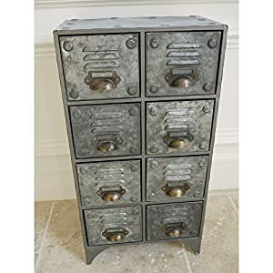industrial style vintage retro metal drawer storage unit small filing cabinet in grey - Small Filing Cabinet