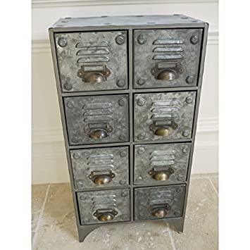 Industrial Style Vintage Retro METAL Drawer Storage Unit Small Filing  Cabinet In Grey