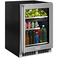 Marvel MP24WB4L 24 Wide 16-Bottle and 112-Can Built-In Dual Zone Wine and Bever, Stainless Steel Frame Door