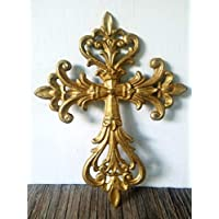Metallic Gold Rustic Shabby Chic Decorative Floral Cast Iron Wall Cross Hanging - Inspiration Housewarming Gift