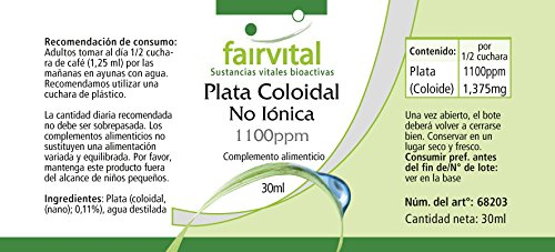 1100ppm coloidal de plata - durante 30 días - vegano - ALTA DOSIS - 30ml - verdadera plata coloidal - no iónico: Amazon.es: Salud y cuidado personal