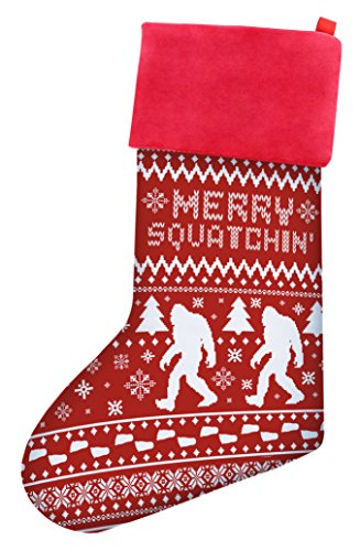 Funny Christmas Stockings Sasquatch Merry Squatchin Gag Gift Ugly Christmas Sweater Themed Pattern Christmas Stockings Secret Santa Gifts Christmas Stocking Red