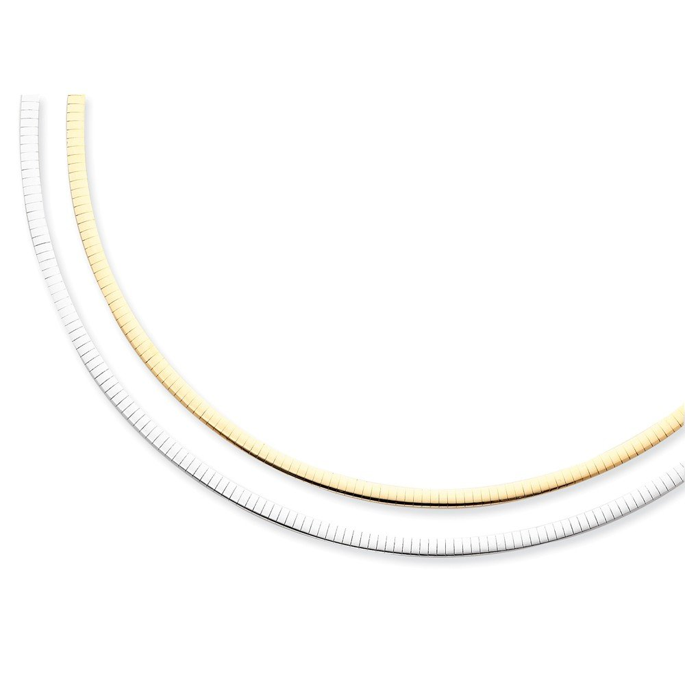ICE CARATS 14k Two Tone Yellow Gold Reversible 4mm Omega Extender Chain Necklace Fine Jewelry Gift Set For Women Heart by ICE CARATS (Image #3)