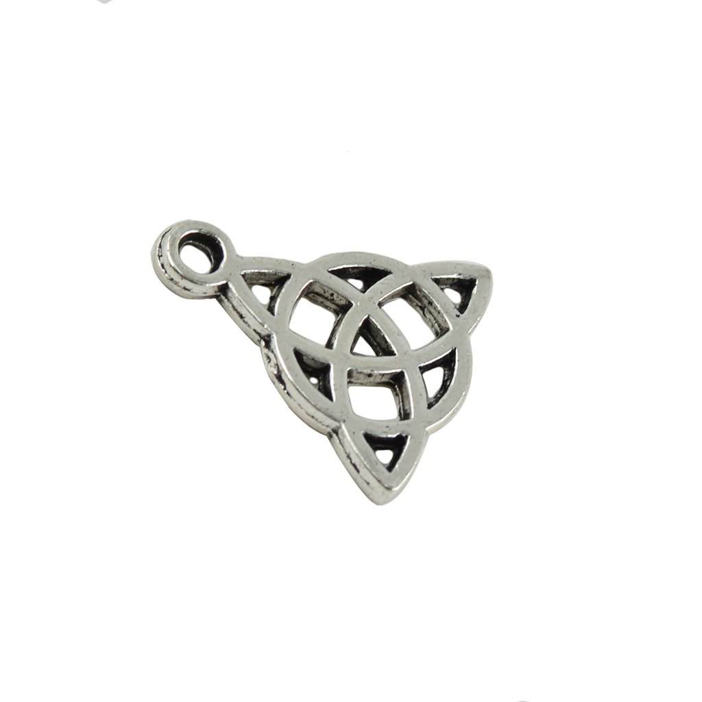 10Pcs Beads Celtic Knot Triquetra Antique Silver Charm Pendants 35x27x6mm