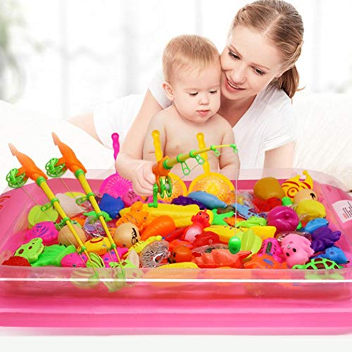 Offeir Creative Baby Bathing Toy 22-Piece Magnetic Fishing Toy Set Bath Toys