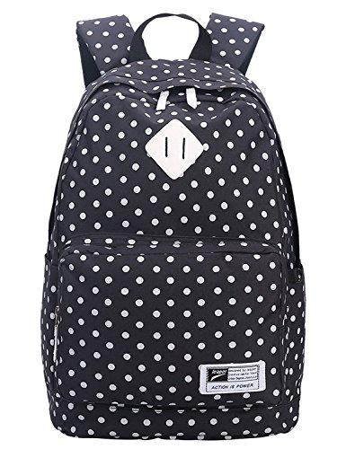 Leaper Rucksack im coolen Dots-Design als Schulrucksack Laptoprucksack für Freizeit Sport Reisen(schwarz)