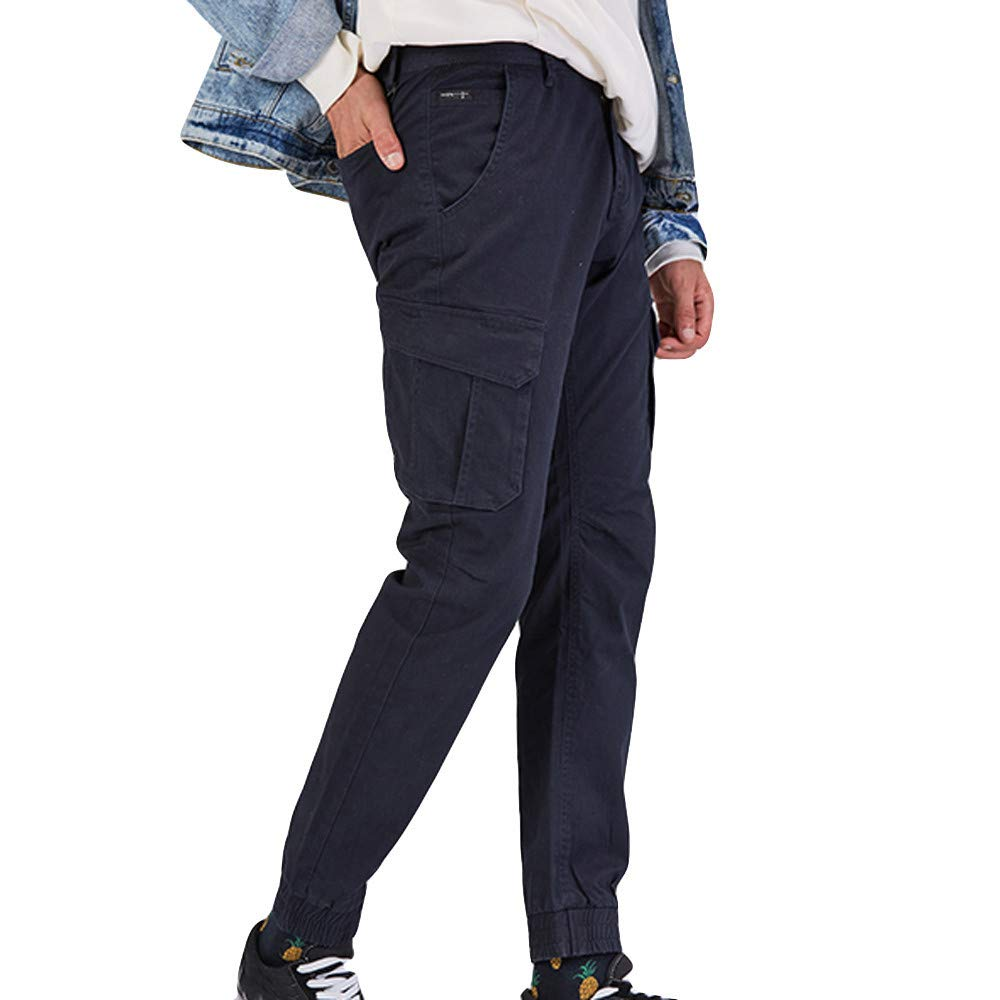 Alalaso Men's Casual Cargo Pants Men's Tapered Cargo Pants Casual Work Blue